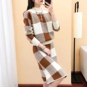 两件套针秋季新款女神范名媛甜美少女气质显瘦织毛衣时