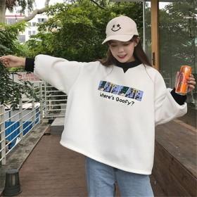 韩版卫衣女薄款加绒潮学生宽松bf风秋冬季新款慵懒风