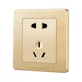 电工家用开关插座面板86型暗装墙壁立体拉丝金色五孔