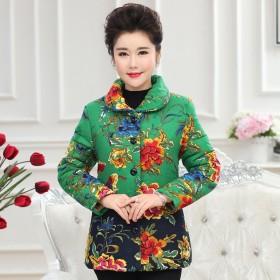 京东女装秋冬长袖棉袄加绒加厚翻领单排扣棉外套