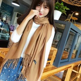 围巾韩版女学生秋冬纯色仿羊绒披肩日系加长两用百搭