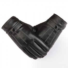 手套男秋冬季骑行开车触屏皮手套