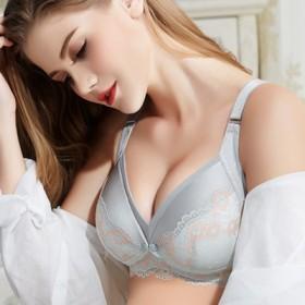 新款哺乳文胸胸罩前开扣蕾丝花边无钢圈孕妇内衣睡眠孕