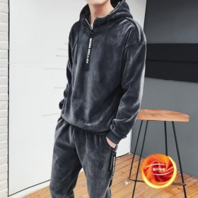 秋冬新款金丝绒套装男韩版时尚双面绒连帽卫衣套