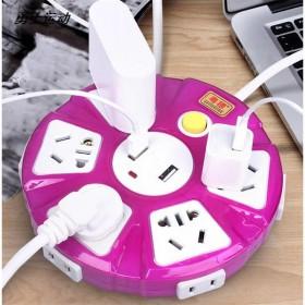 2米线圆盘排插不带线USB接线板多孔插板电插座