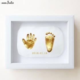 手脚印泥手足印纪念品乳牙胎毛盒新生婴儿满月白天礼物