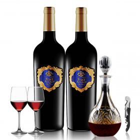 赤霞珠葡萄酒2支送醒酒器加开瓶器加2酒杯