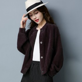 毛绒外套女25-35岁开衫加厚秋冬短款上衣