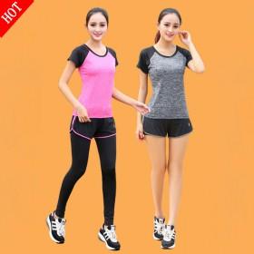 运动休闲瑜伽服套装大码两件套速干短袖上衣跑步健身服