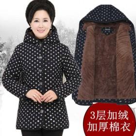 中老年冬装棉衣妈妈装加大码加绒加厚宽松保暖棉袄外套
