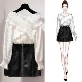 2018秋季港味时尚社会女长袖上衣半身皮裙两件套装