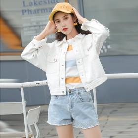 白色牛仔外套女春秋新款秋季韩版修身短款外套长袖牛仔