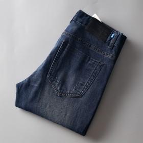 高品质!男士牛仔裤男装秋季新款青年中腰长裤子