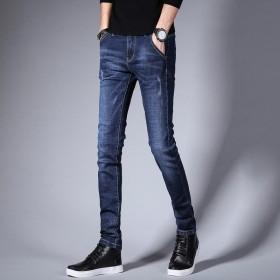 高弹力牛仔裤男超弹秋冬季青少年休身牛仔裤男中腰韩版