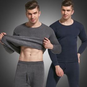 男士加绒加厚保暖内衣冬季时尚修身秋衣秋裤圆领套装