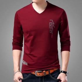 男士秋冬新品长袖T恤打底衫棉v领套头薄款修身印花