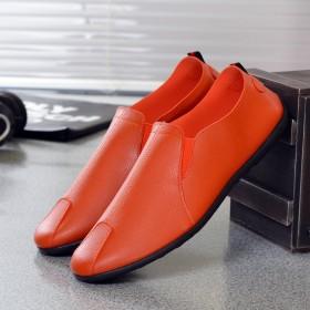 跨境货源新款透气单鞋纯色百搭男士时尚休闲圆头鞋