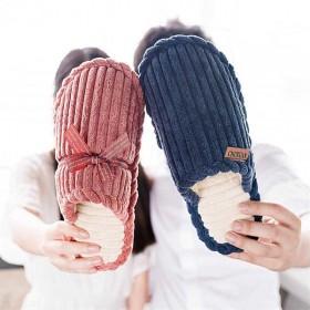 冬季情侣棉拖鞋精品灯芯绒居家保暖室内男女厚底月子鞋