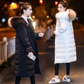 真貉子毛领中长款羽绒服女大衣外套