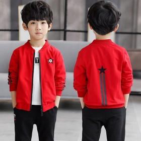 春秋季新款长袖短外套儿童学生夹克拉链衫棒球服开衫
