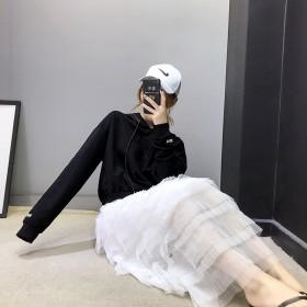 秋冬新款连帽卫衣袖口字幕上衣层层网纱蛋糕裙套装