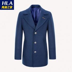 海澜之家加厚50%羊毛呢大衣西装中长款呢子外套男装