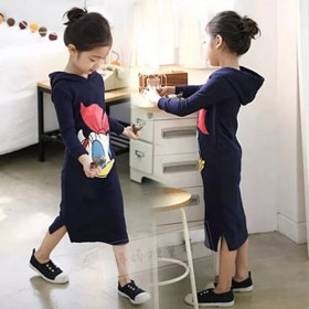 韩版女童裙2018韩国秋季新款中大童连衣裙连帽裙