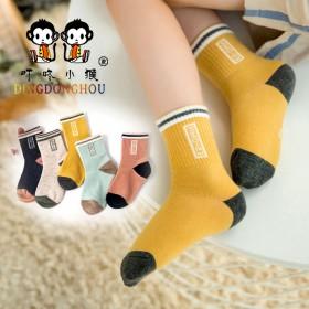 5双装秋冬季儿童袜子 男女童宝宝袜子 学生小孩中筒