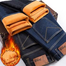 加绒加厚男士牛仔裤2018新款冬季直筒保暖长裤子