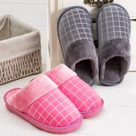 冬季新款格子毛毛棉拖鞋 室内厚底防滑家居加绒毛拖鞋