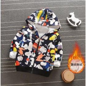 男女童宝宝0-5岁秋冬装加绒卫衣迷彩夹克外套拉链衫