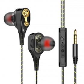 新款双动圈重低音耳机线入耳式带麦K歌耳麦塞手机通用