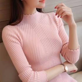 套头毛衣女短款秋冬韩版荷叶边修身长袖打底衫针织衫线