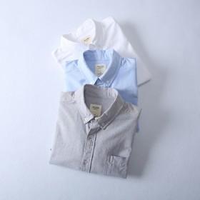 秋季男士牛津纺长袖纯棉打底休闲白衬衫修身余文乐同款