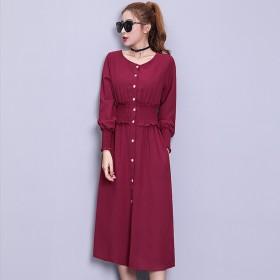 气质V领2018秋装女装新款长袖连衣裙收腰显瘦