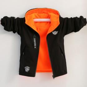 男童两面穿风衣夹克摇粒绒外套冲锋衣加厚防风衣