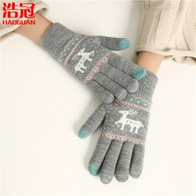 手套女冬季加绒加厚学生保暖毛线手套