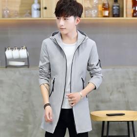 韩版潮流中长款男士夹克修身青少年时尚休闲学生外套