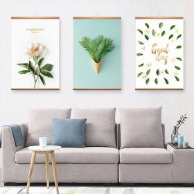 北欧卷轴挂画客厅装饰画火烈鸟绿植免打孔墙画