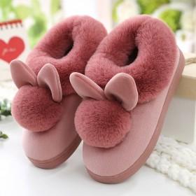 秋冬季情侣拖鞋女防滑防臭室内外居家加绒厚底棉鞋