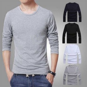 纯色打底衫男士长袖t恤秋冬季修身长袖t恤男青年纯
