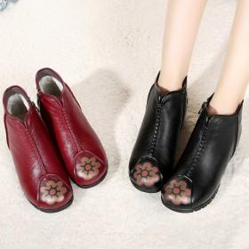 冬季真皮保暖妈妈棉鞋