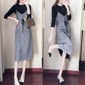 新款女装韩版针织两件套中长款气质修身打底连衣裙