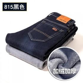 冬季加绒牛仔裤男秋冬新款加厚弹力直筒保暖修身大码