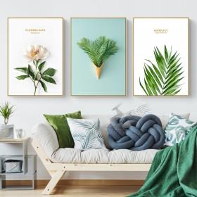 北欧风格装饰画 客厅卧室挂画小清新绿植床头画