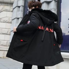 中长款外套男冬季韩版新款潮流棉衣青年帅气加厚棉袄