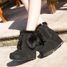 冬季真皮水貂坡跟短靴中筒平底加绒磨砂皮时装靴女鞋潮