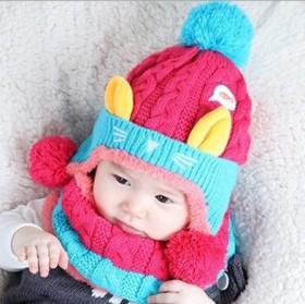 儿童冬季帽子围脖套装新款可爱猫咪保暖护耳毛线帽围脖