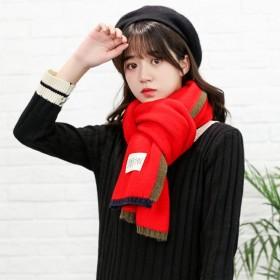 秋冬围巾男女新款拼色边框贴标加厚双面大披肩两用