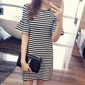 条纹连衣裙女装韩版修身显瘦喇叭袖短袖t恤女式中长款